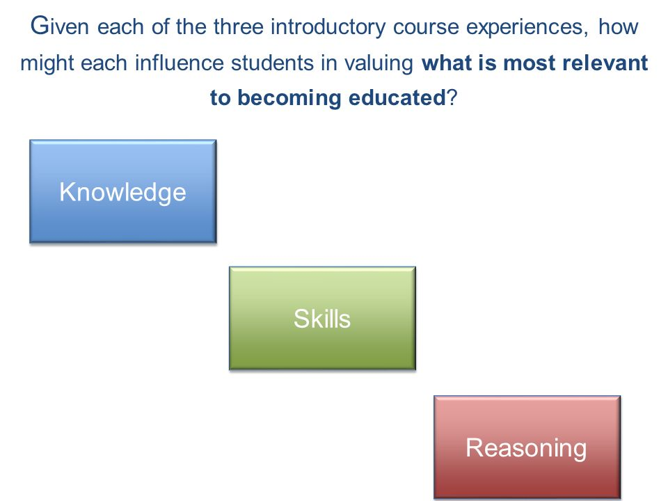 G iven each of the three introductory course experiences, how might each influence students in valuing what is most relevant to becoming educated.