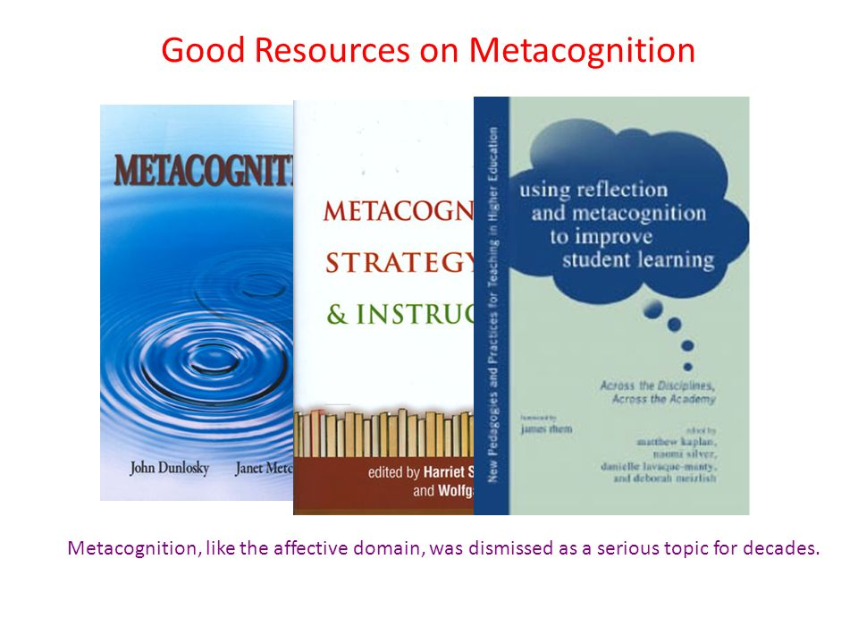 Metacognition, like the affective domain, was dismissed as a serious topic for decades.