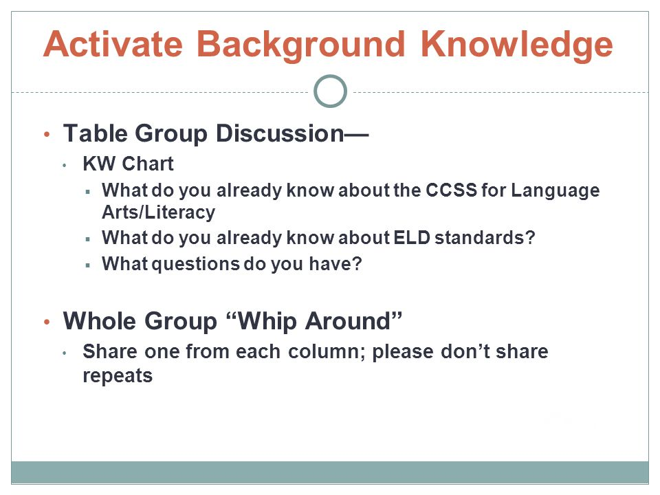 Activate Background Knowledge Table Group Discussion— KW Chart  What do you already know about the CCSS for Language Arts/Literacy  What do you already know about ELD standards.