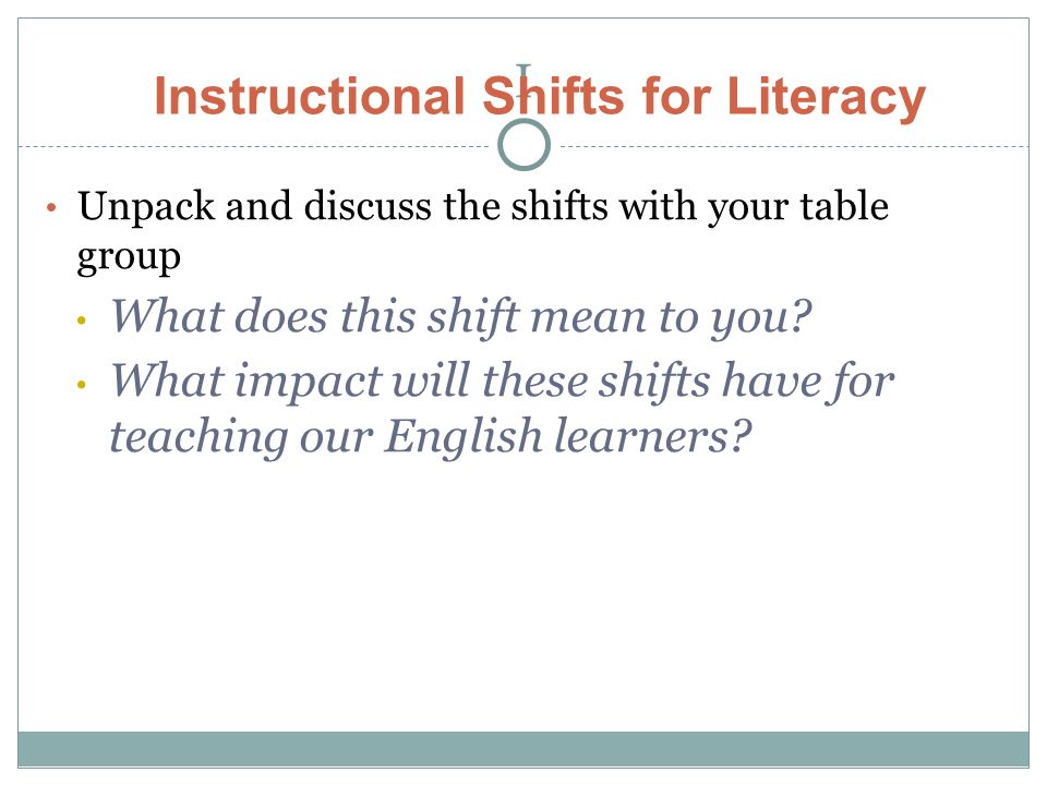I Unpack and discuss the shifts with your table group What does this shift mean to you.