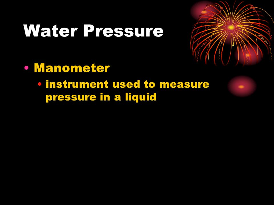 Water Pressure Manometer instrument used to measure pressure in a liquid