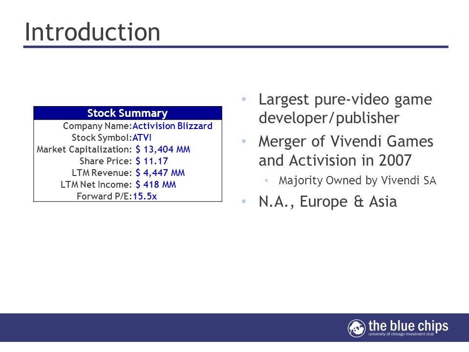 Activision Blizzard, Inc  (ATVI) Minjoo Kim, Keng Hoe Wong