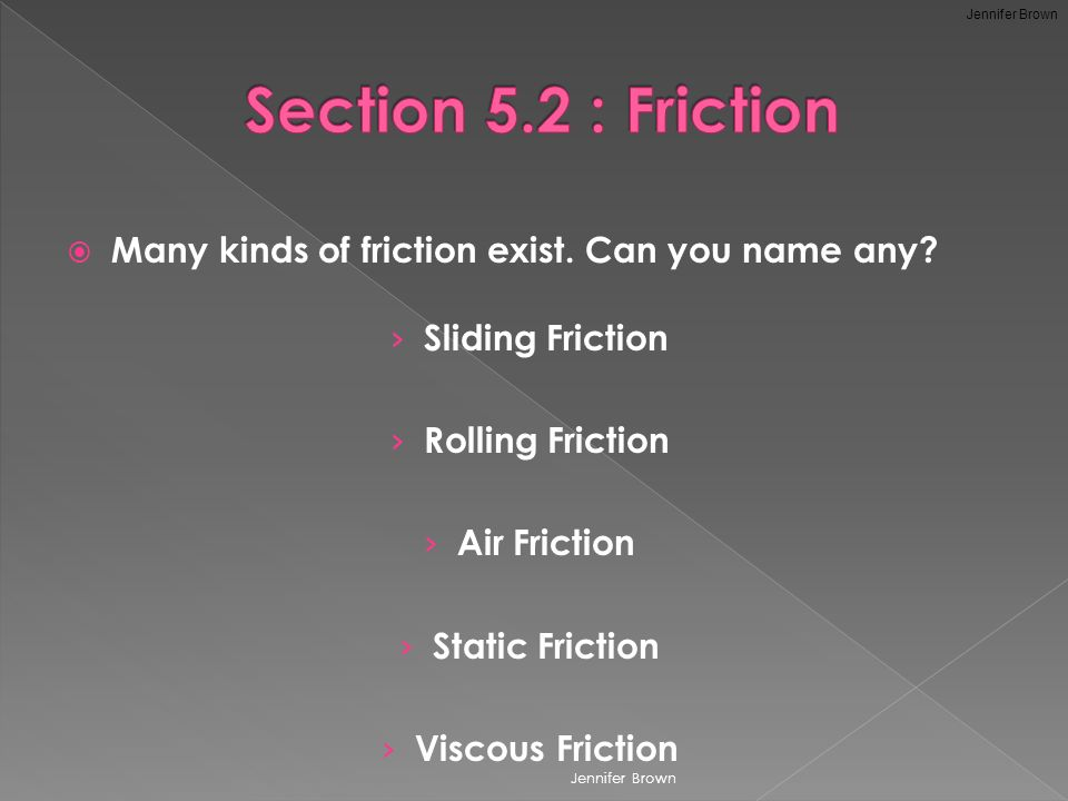  Many kinds of friction exist. Can you name any.