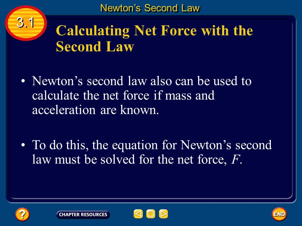 Newton's second law of motion states that the acceleration of an object is in the same direction as the net force on the object, and that the acceleration can be calculated from the following equation: Newton's Second Law 3.1 Newton's Second Law