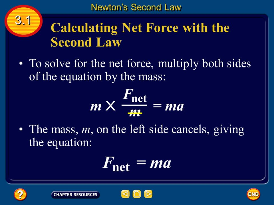 Newton's second law also can be used to calculate the net force if mass and acceleration are known.