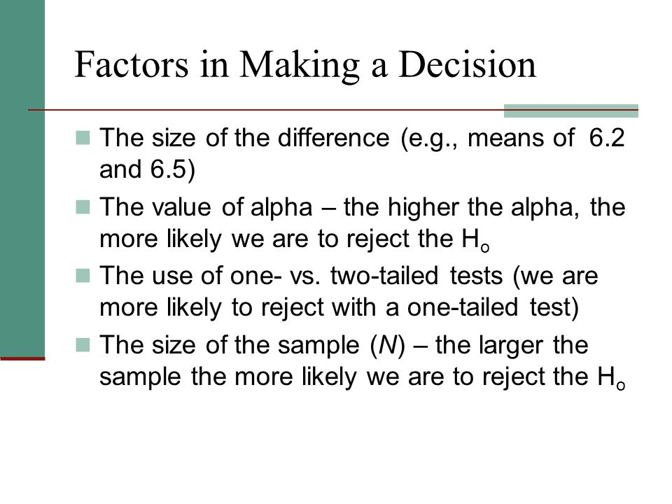 Factors in Making a Decision The size of the difference (e.g., means of 6.2 and 6.5) The value of alpha – the higher the alpha, the more likely we are to reject the H o The use of one- vs.