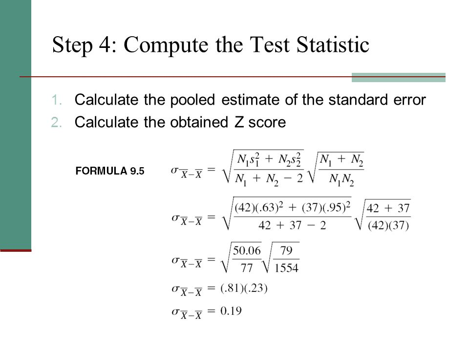Step 4: Compute the Test Statistic 1. Calculate the pooled estimate of the standard error 2.