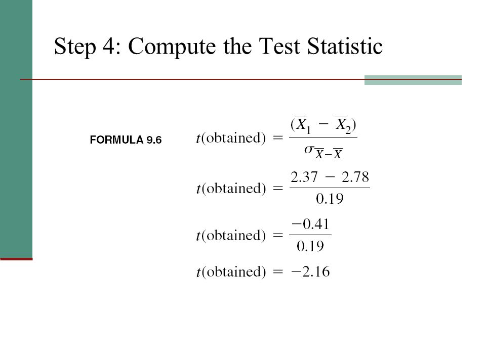 Step 4: Compute the Test Statistic