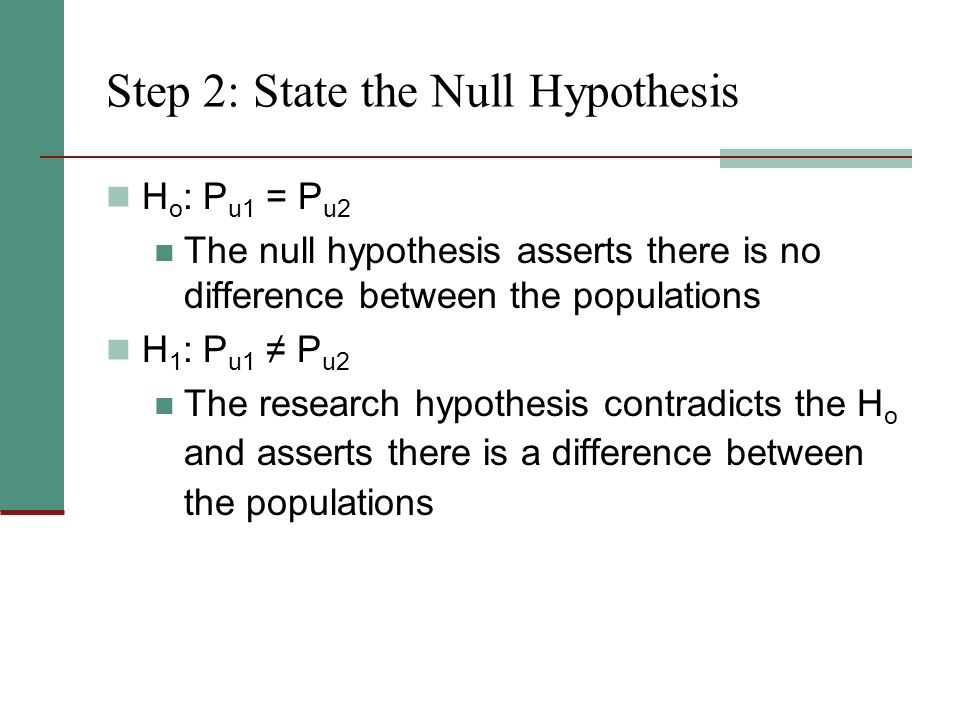 Step 2: State the Null Hypothesis H o : P u1 = P u2 The null hypothesis asserts there is no difference between the populations H 1 : P u1 ≠ P u2 The research hypothesis contradicts the H o and asserts there is a difference between the populations