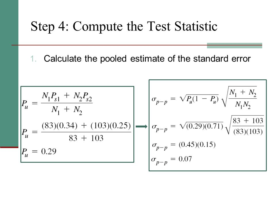 Step 4: Compute the Test Statistic 1. Calculate the pooled estimate of the standard error