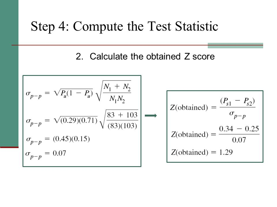 Step 4: Compute the Test Statistic 2.Calculate the obtained Z score