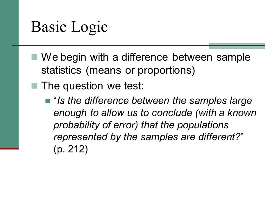 Basic Logic We begin with a difference between sample statistics (means or proportions) The question we test: Is the difference between the samples large enough to allow us to conclude (with a known probability of error) that the populations represented by the samples are different (p.