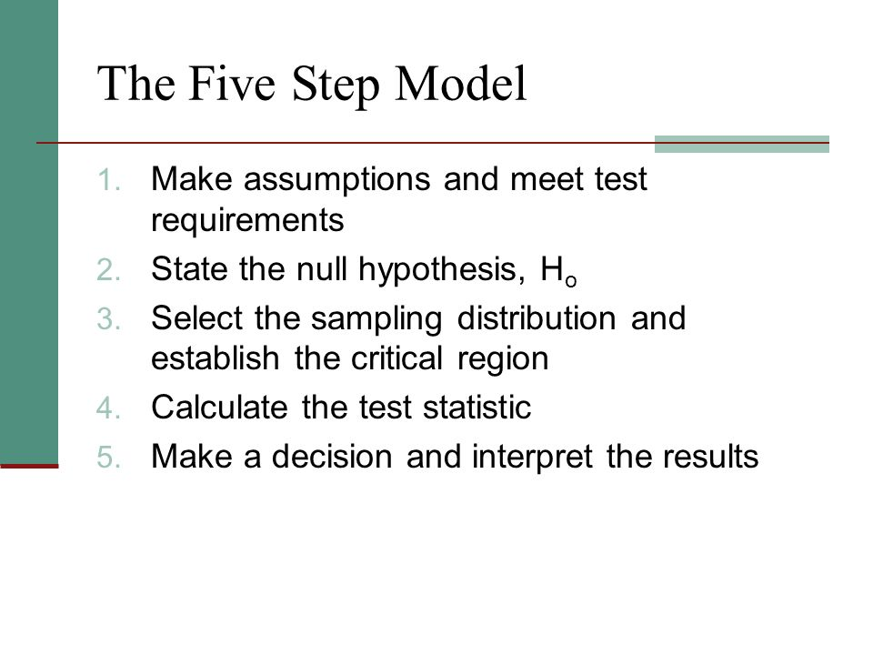 The Five Step Model 1. Make assumptions and meet test requirements 2.