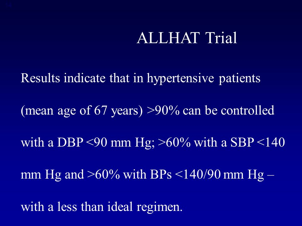 14 ALLHAT Trial Results indicate that in hypertensive patients (mean age of 67 years) >90% can be controlled with a DBP 60% with a SBP <140 mm Hg and >60% with BPs <140/90 mm Hg – with a less than ideal regimen.