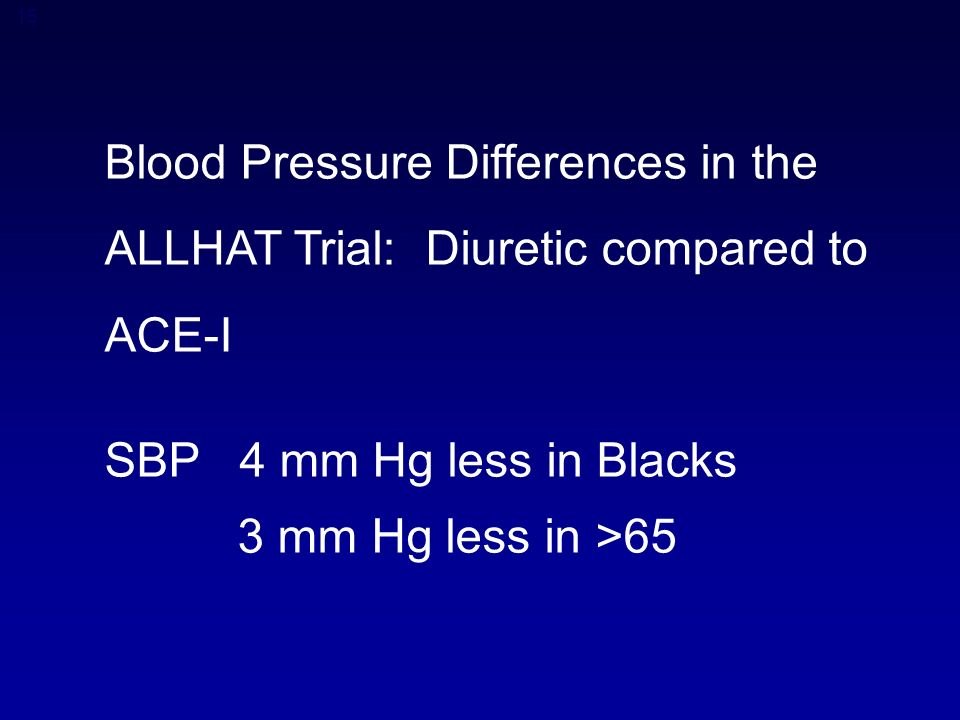 15 Blood Pressure Differences in the ALLHAT Trial: Diuretic compared to ACE-I SBP 4 mm Hg less in Blacks 3 mm Hg less in >65