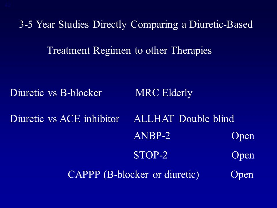Year Studies Directly Comparing a Diuretic-Based Treatment Regimen to other Therapies Diuretic vs B-blocker MRC Elderly Diuretic vs ACE inhibitor ALLHAT Double blind ANBP-2Open STOP-2Open CAPPP (B-blocker or diuretic) Open