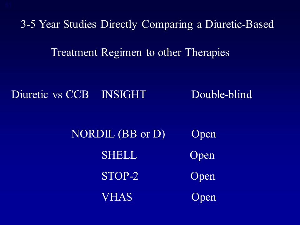 Year Studies Directly Comparing a Diuretic-Based Treatment Regimen to other Therapies Diuretic vs CCBINSIGHT Double-blind NORDIL (BB or D)Open SHELL Open STOP-2 Open VHAS Open