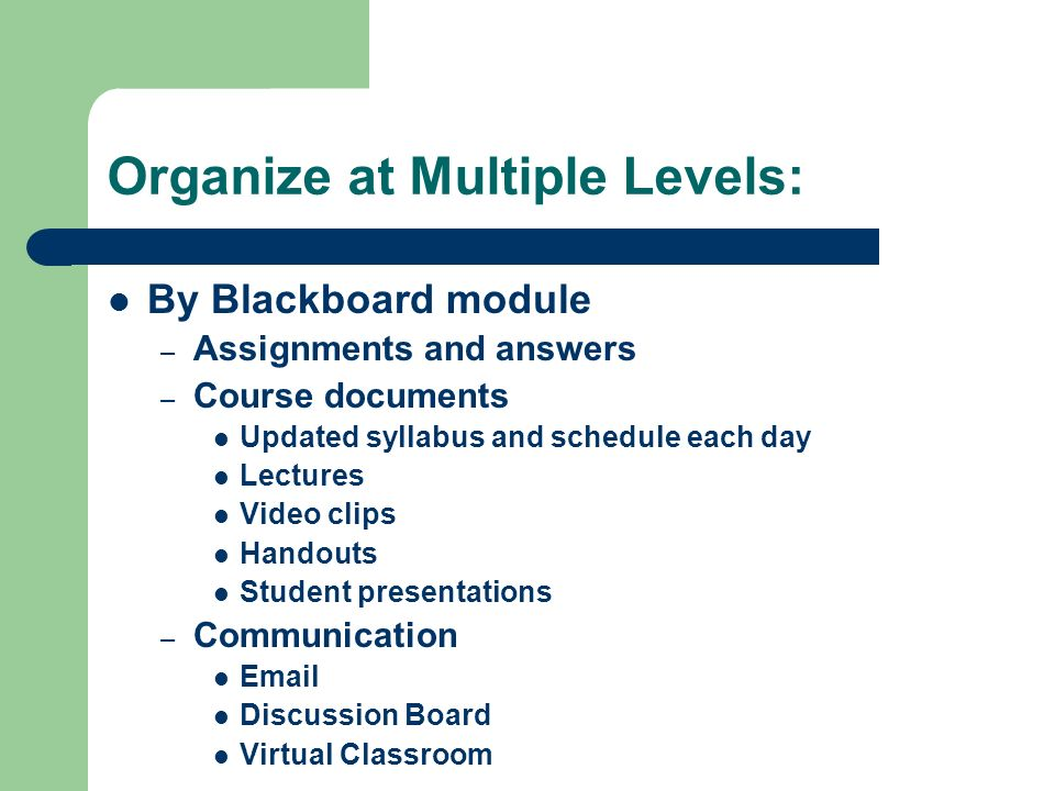 Organize at Multiple Levels: By Blackboard module – Assignments and answers – Course documents Updated syllabus and schedule each day Lectures Video clips Handouts Student presentations – Communication  Discussion Board Virtual Classroom