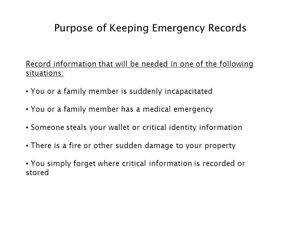 Emergency Records Organizer 2 Purpose