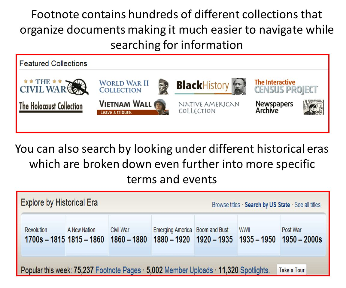 You can also search by looking under different historical eras which are broken down even further into more specific terms and events Footnote contains hundreds of different collections that organize documents making it much easier to navigate while searching for information
