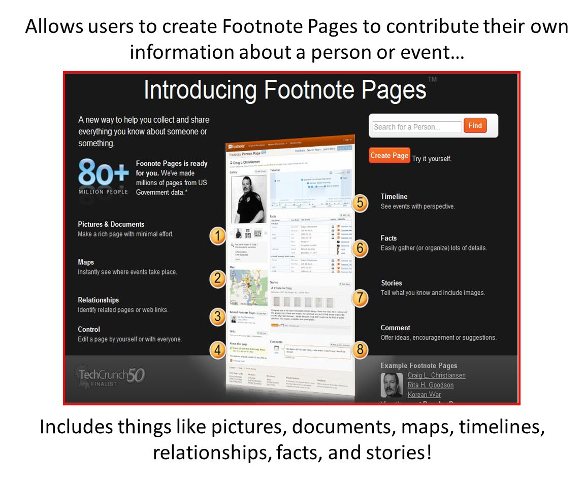 Allows users to create Footnote Pages to contribute their own information about a person or event… Includes things like pictures, documents, maps, timelines, relationships, facts, and stories!