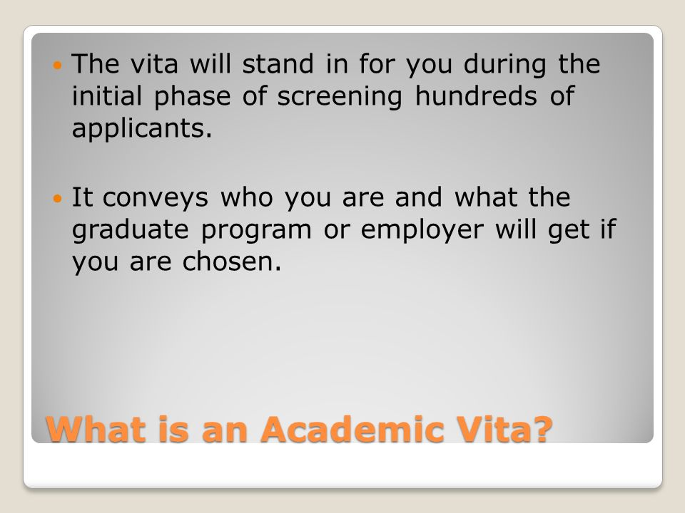 What is an Academic Vita.