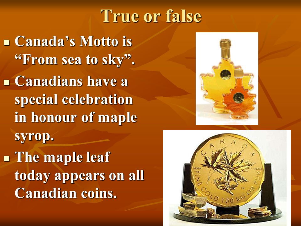 True or false Canada's Motto is From sea to sky .