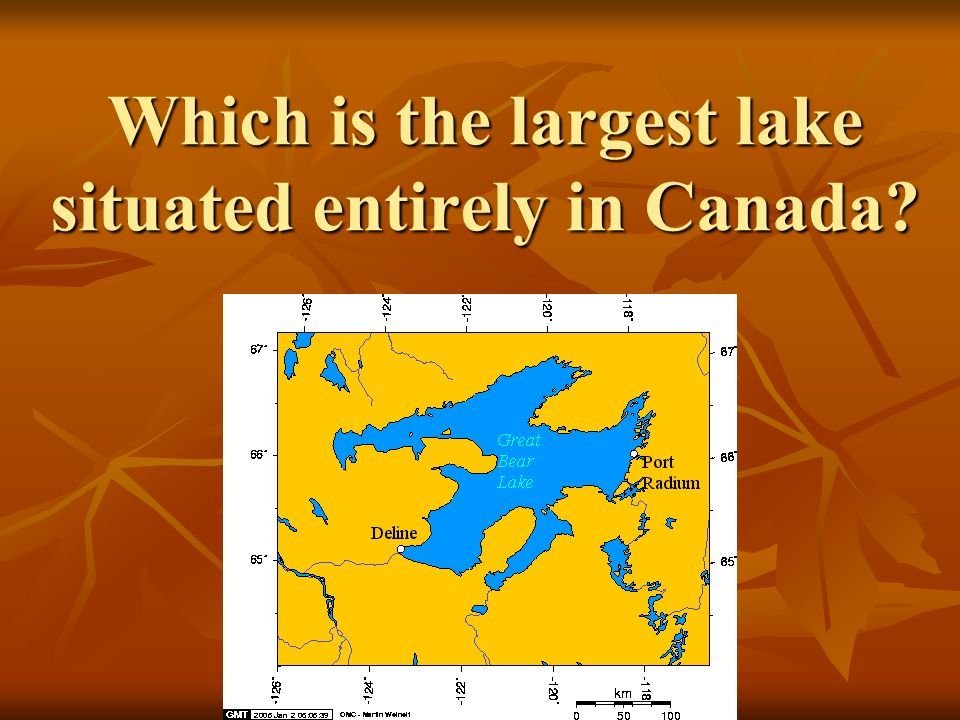 Which is the largest lake situated entirely in Canada