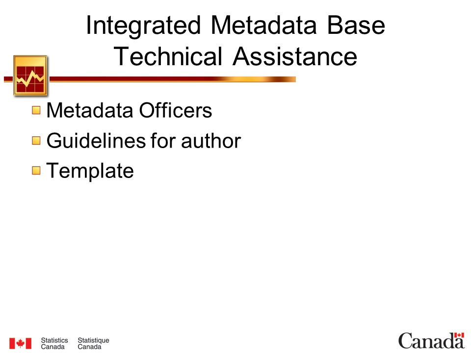 Integrated Metadata Base Technical Assistance Metadata Officers Guidelines for author Template