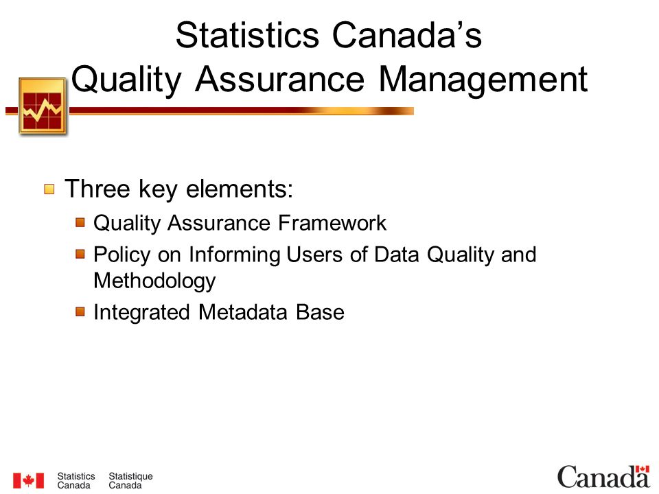 Statistics Canada's Quality Assurance Management Three key elements: Quality Assurance Framework Policy on Informing Users of Data Quality and Methodology Integrated Metadata Base