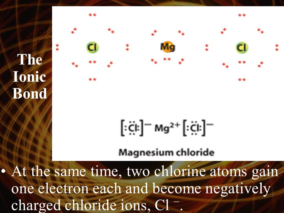 The Ionic Bond At the same time, two chlorine atoms gain one electron each and become negatively charged chloride ions, Cl −.
