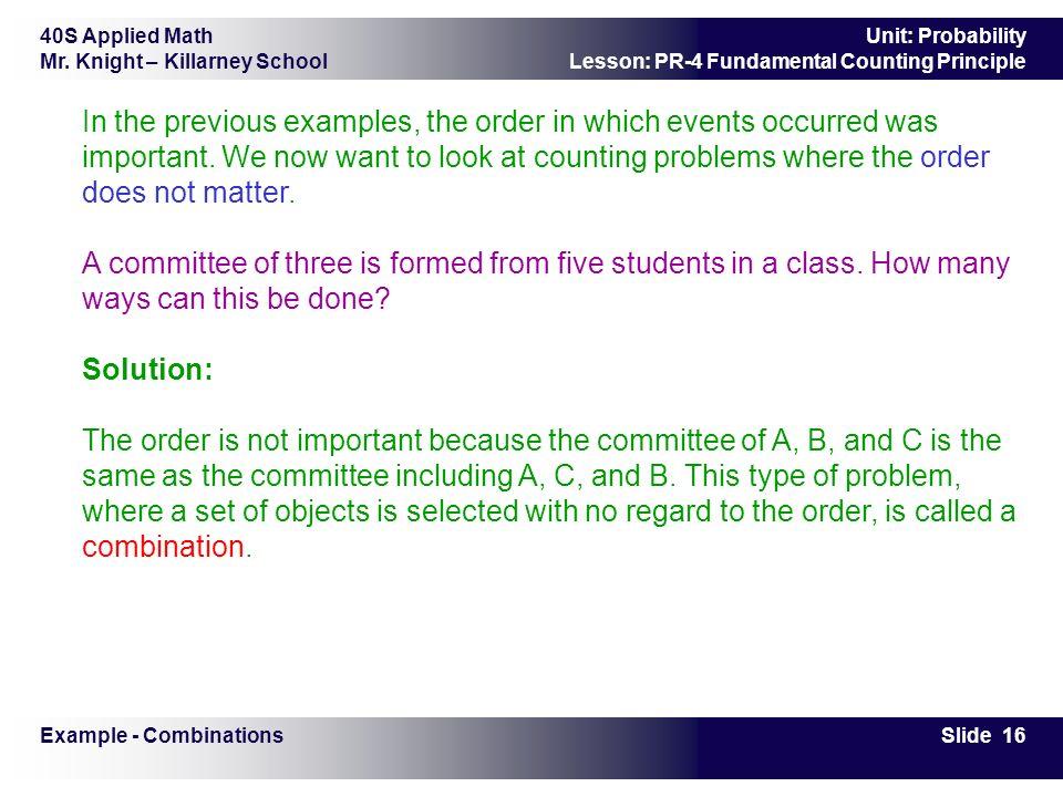40S Applied Math Mr. Knight – Killarney School Slide 1 Unit ...