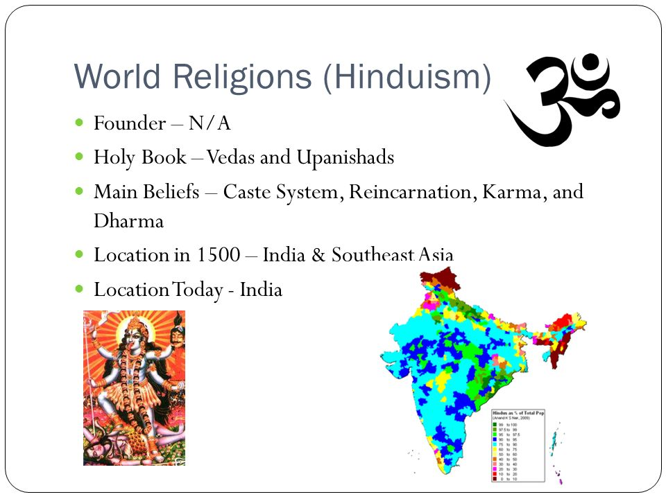 World Religions (Hinduism) Founder – N/A Holy Book – Vedas and Upanishads Main Beliefs – Caste System, Reincarnation, Karma, and Dharma Location in 1500 – India & Southeast Asia Location Today - India