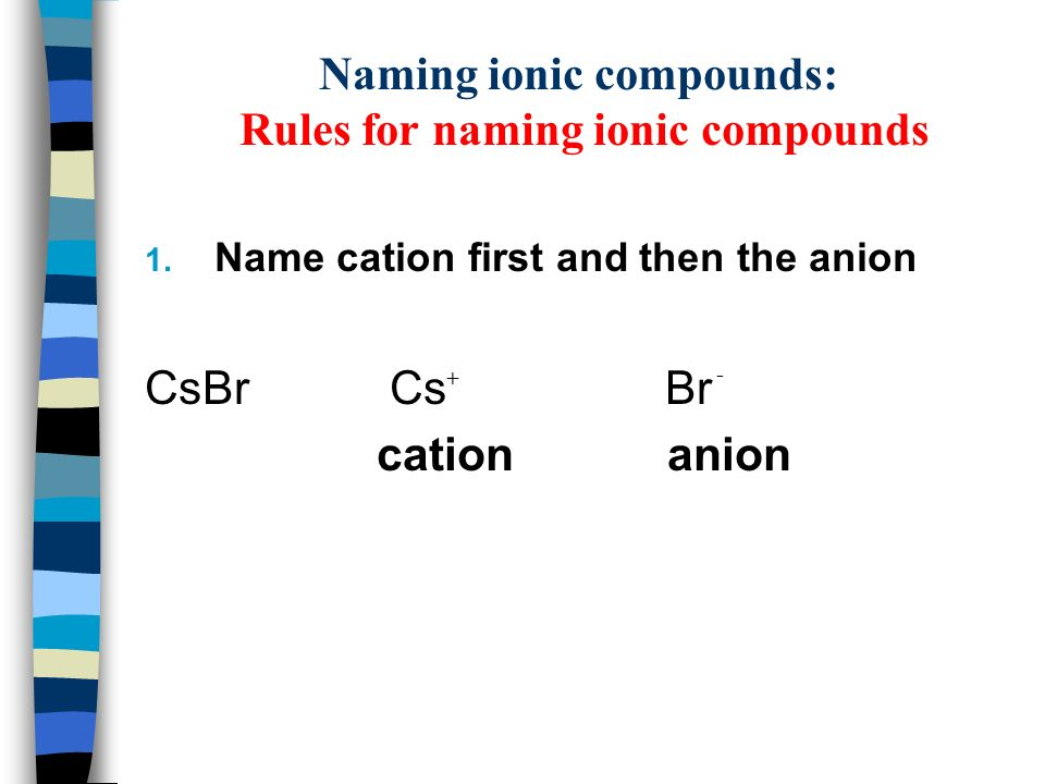 Chemical Nomenclature and Formulas for Ionic Compounds  - ppt download
