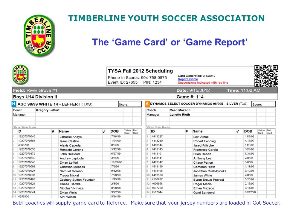 TIMBERLINE YOUTH SOCCER ASSOCIATION The Game Card Or Report Both Coaches