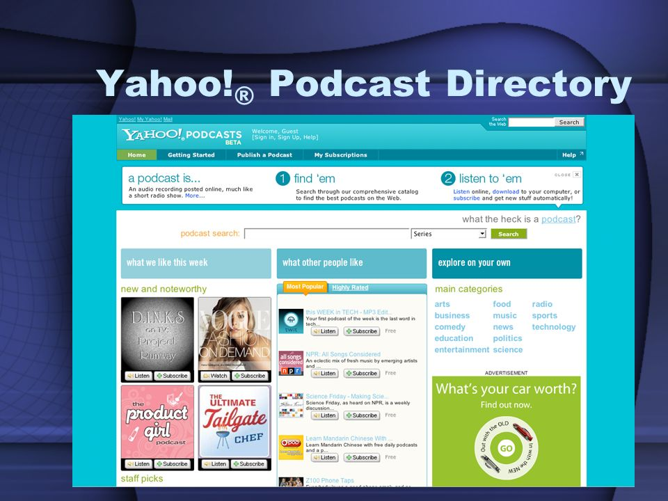 Yahoo! ® Podcast Directory