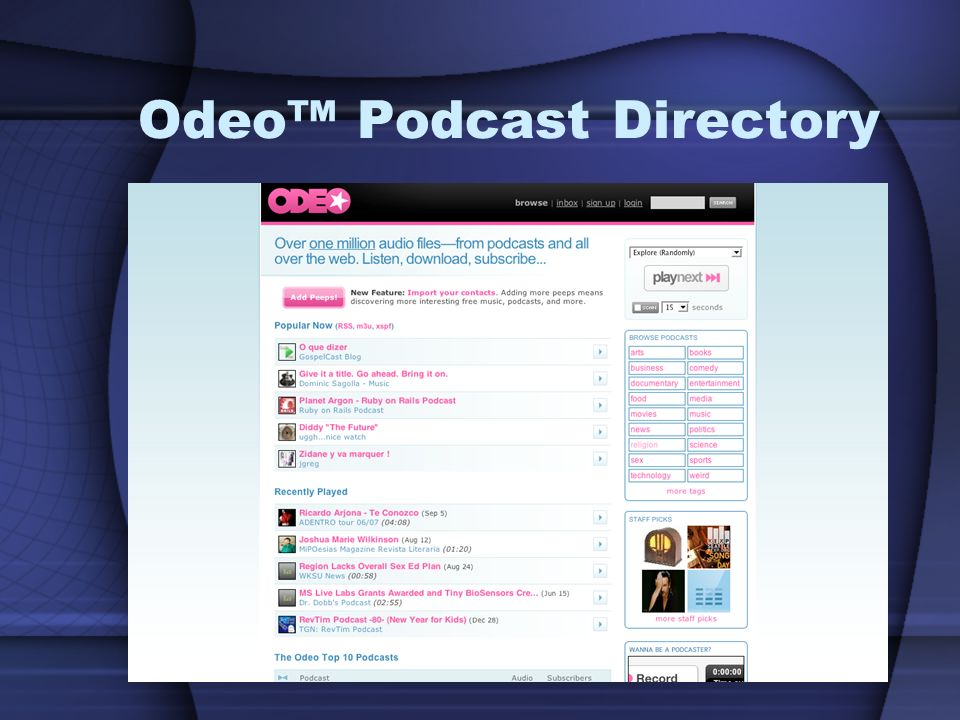 Odeo™ Podcast Directory
