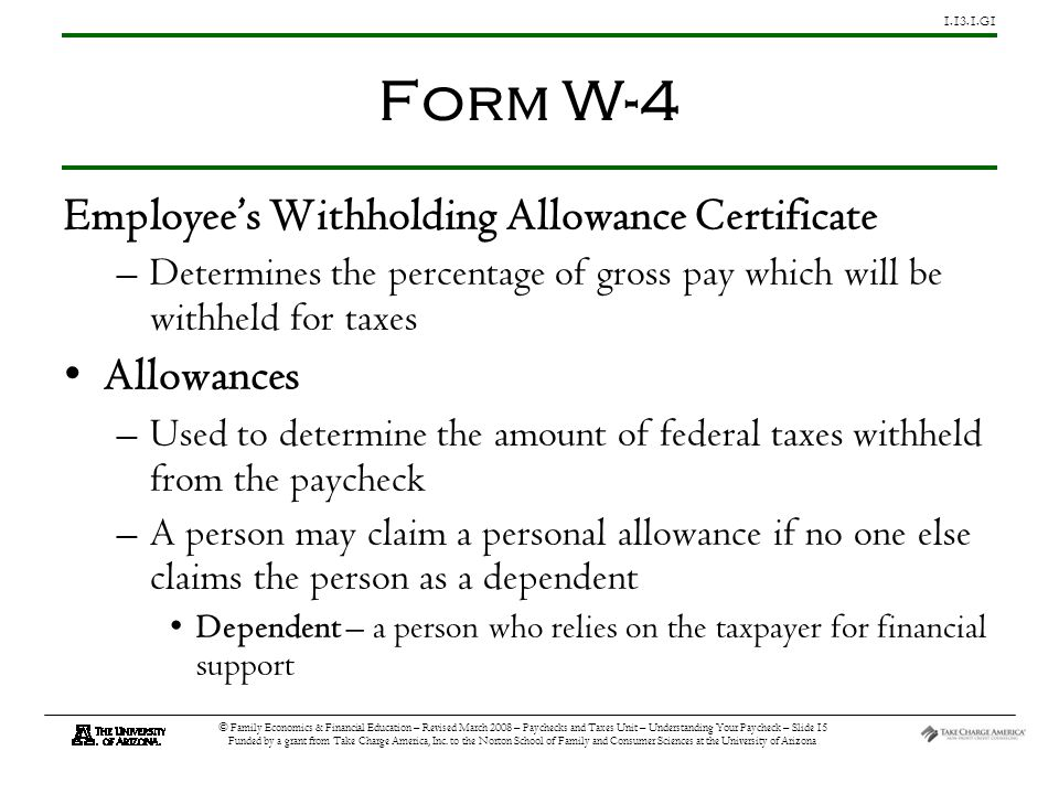 G1 © Family Economics & Financial Education – Revised March 2008 – Paychecks and Taxes Unit – Understanding Your Paycheck – Slide 15 Funded by a grant from Take Charge America, Inc.