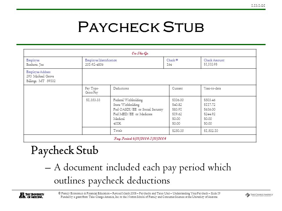 G1 © Family Economics & Financial Education – Revised March 2008 – Paychecks and Taxes Unit – Understanding Your Paycheck – Slide 19 Funded by a grant from Take Charge America, Inc.