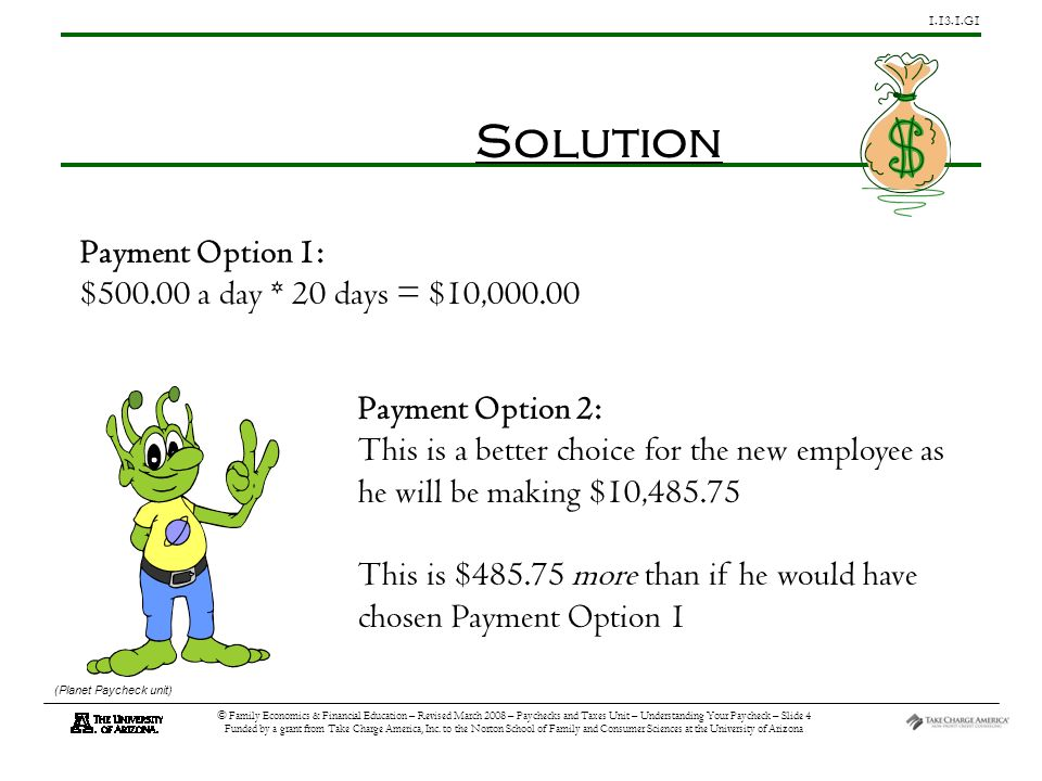 G1 © Family Economics & Financial Education – Revised March 2008 – Paychecks and Taxes Unit – Understanding Your Paycheck – Slide 4 Funded by a grant from Take Charge America, Inc.