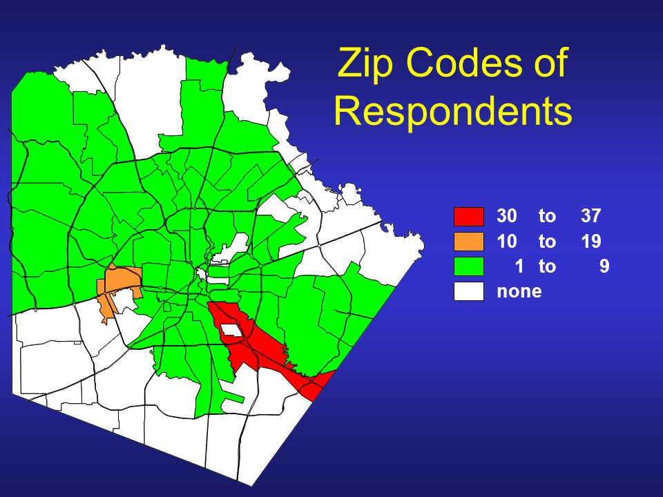 Zip Codes of Respondents 30 to37 10 to19 1 to9 none
