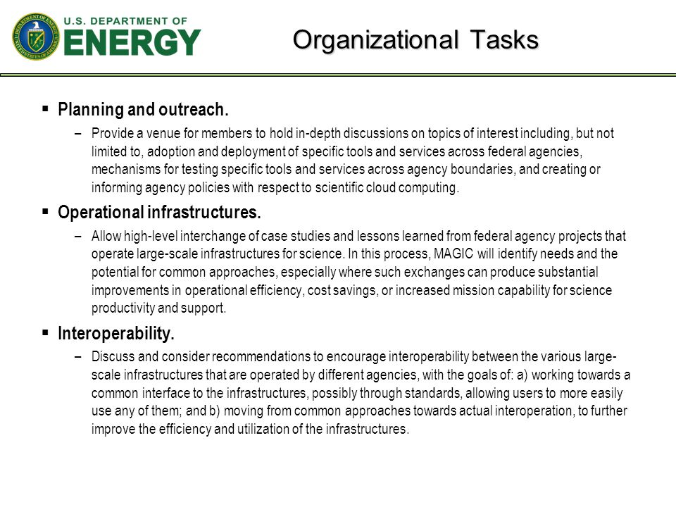 Organizational Tasks  Planning and outreach.