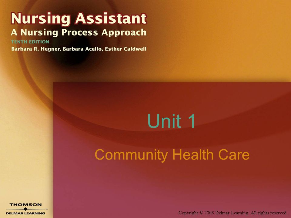Copyright © 2008 Delmar Learning. All rights reserved. Unit 1 Community Health Care