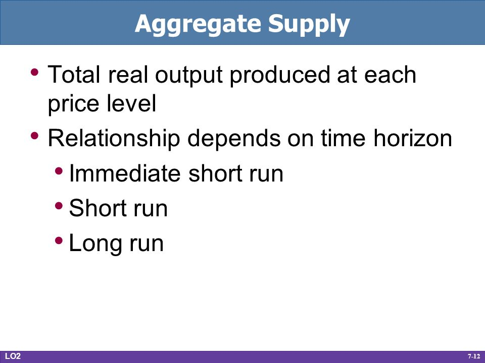 7-12 Aggregate Supply Total real output produced at each price level Relationship depends on time horizon Immediate short run Short run Long run LO2