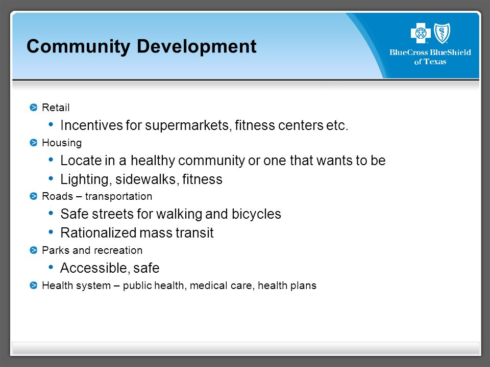 Community Development Retail Incentives for supermarkets, fitness centers etc.