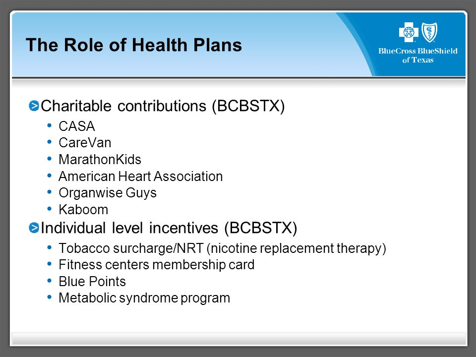 The Role of Health Plans Charitable contributions (BCBSTX) CASA CareVan MarathonKids American Heart Association Organwise Guys Kaboom Individual level incentives (BCBSTX) Tobacco surcharge/NRT (nicotine replacement therapy) Fitness centers membership card Blue Points Metabolic syndrome program