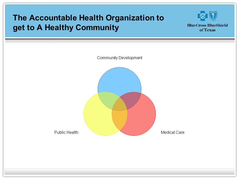 The Accountable Health Organization to get to A Healthy Community Community Development Medical Care Public Health