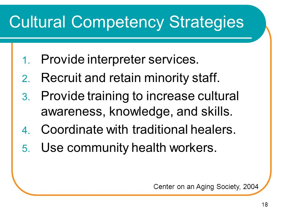 18 Cultural Competency Strategies 1. Provide interpreter services.