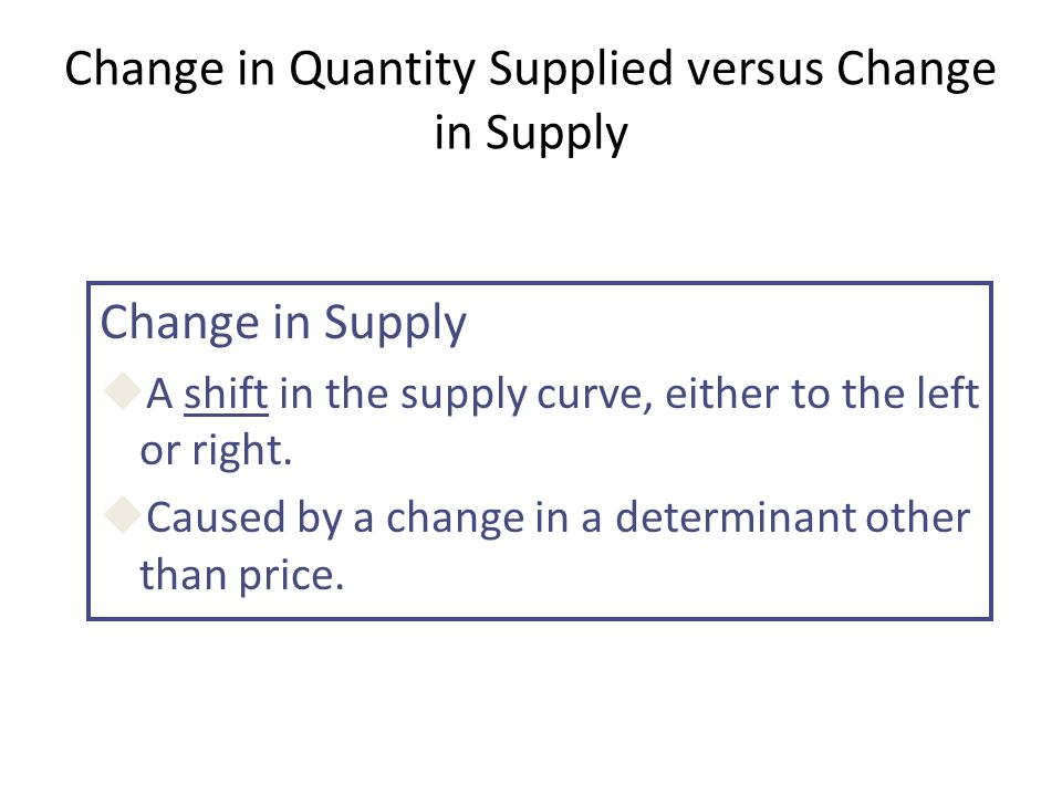 Change in Quantity Supplied versus Change in Supply Change in Supply uA shift in the supply curve, either to the left or right.