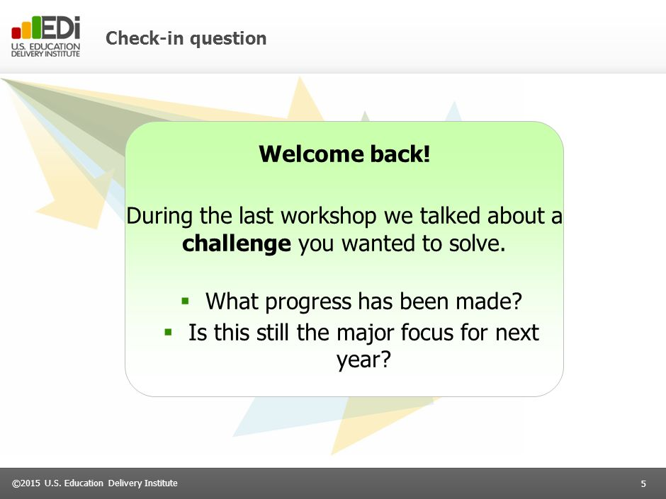 5 ©2015 U.S. Education Delivery Institute Check-in question Welcome back.
